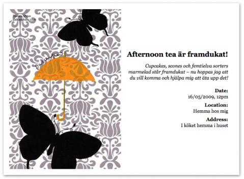 Så här hade en inbjudan till ett afternoon tea kunnat se ut.
