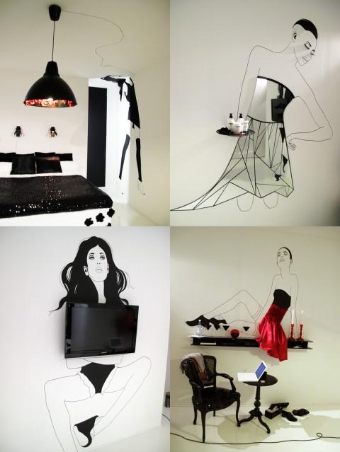Varje illustrerad figur har ett syfte, som att hålla taklampan eller tv:n eller en hylla...