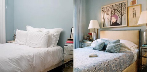 Sovrummet till vänster är en bra grund, men det behövs lite prylar för att det inte ska kännas som ett hotellrum.