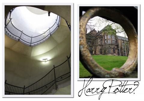 Jag gillar det arkitektoniska krockarna i Glasgow. Till höger är det fina universitetet som ser ut att vara hämtat från Harry Potter, till vänster trapphuset i Hunterian Art Gallery.