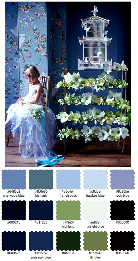 Den söta bilden på tjejen med alla blommorna fick inspirera till dagens färgskala.