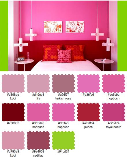 Symmetri och knalliga färger piggar upp. Bild från Apartment Therapy.