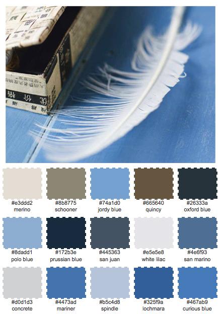 Den här färgskalan påminner mig om Gotland – lite kargt, solblekt och väldigt mycket blått.