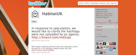 Habitat ber om ursäkt på Twitter.