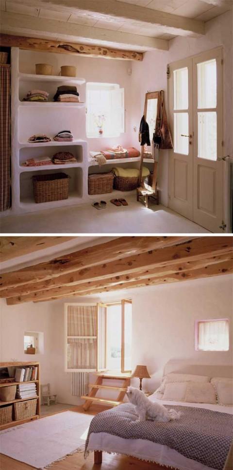 Älskar de grova hyllsystemen och den lilla trappan – undrar var man tar vägen om man går ut genom fönstret?