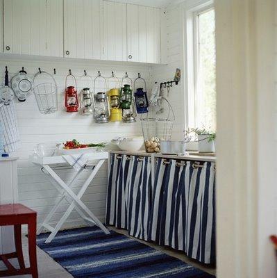Det här sommarstugefina köket får pryda bloggen idag.