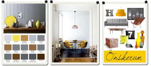 Färgpaletter, inspirationsbilder och kollage är tre vanligt förekommande inlägg i Husligheter.