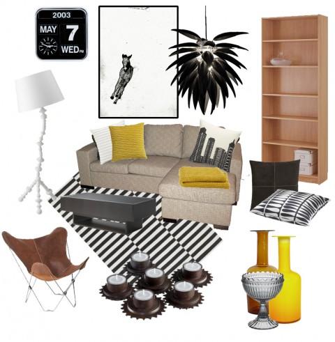 Soffan på bilden är Idas egen, och hyllan är Billy från IKEA i ek, som här ska föreställa bok...