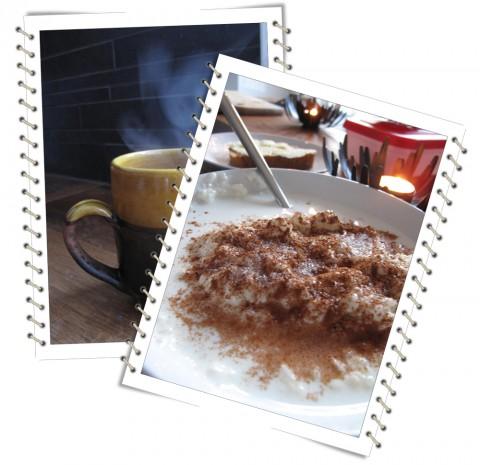 Risgrynsgröt, vört med ost och rykande muggar...