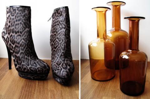 Tre vackra flaskor och två fina skor, som också inhandlades i fredags.