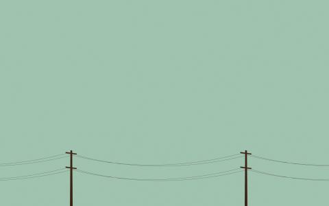 Blekgrönt och telefonledningar.