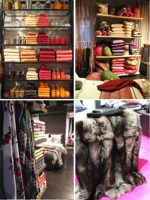 Färgsprakande textilier. Observera det illrosa(!) koskinnet på golvet längst ner till höger.