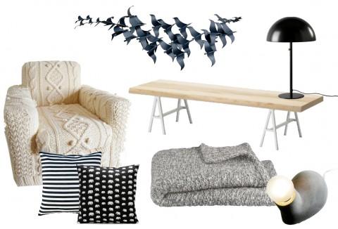 Blekt trä, svart, vitt och grått.