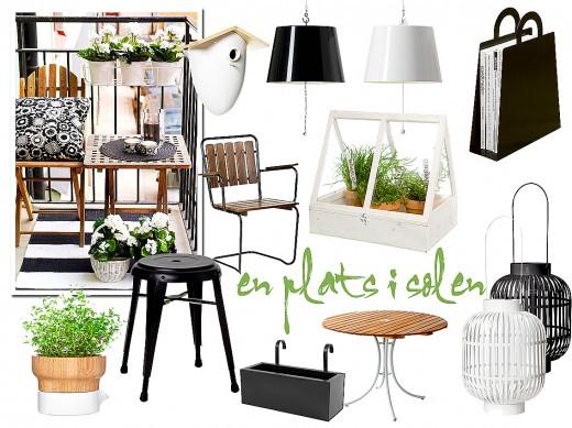 Svart, vitt, grönt och trä skapar en stilren uteplats.