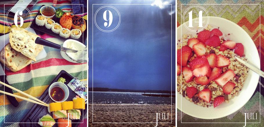 En picknick vid Ulriksdal med en väninna, en dag på stranden (Jogersö) som förvandlades till väderdramatik och så jordgubbar till varje frukost.