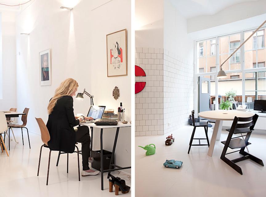 Ännu en inspirerande arbetsplats på hemmaplan och så Ulrikas ljusa kök.
