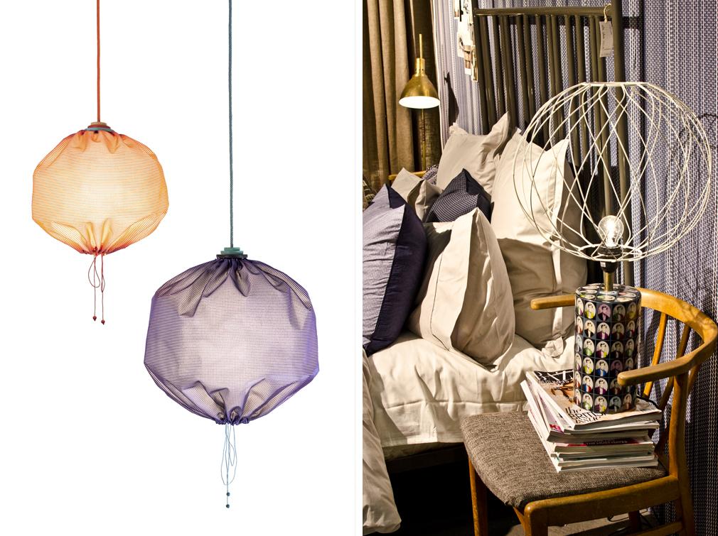 Fina Drawstring Lamp av Merry-Go-Round (som i sin tur är ett samarbete mellan designkollektivet Design Stories och producenterna och hantverkarna Returhuset) fastnade inte på bild på grund av att montern bland Young designers var proppfull med folk så därav en pressbild. Men jag förstår intresset, de är otroligt häftiga! I Mimous monter föll både jag och andra besökare för en bordslampa som användes som rekvisita. Nu börjar arbetet med att spåra den ...