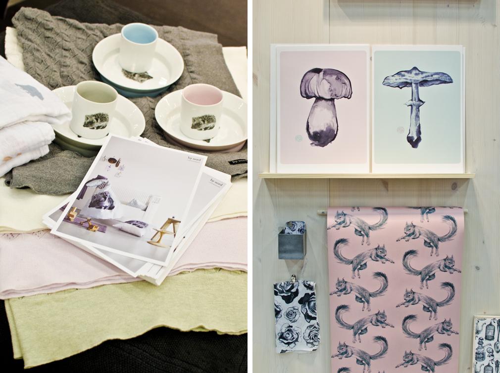 By Nords söta djurtryck ramades in av svala pasteller. Illustratören Saga Mariah höll även hon till i Yound designers-delen med sin flora och fauna på pastellfärgade underlag.