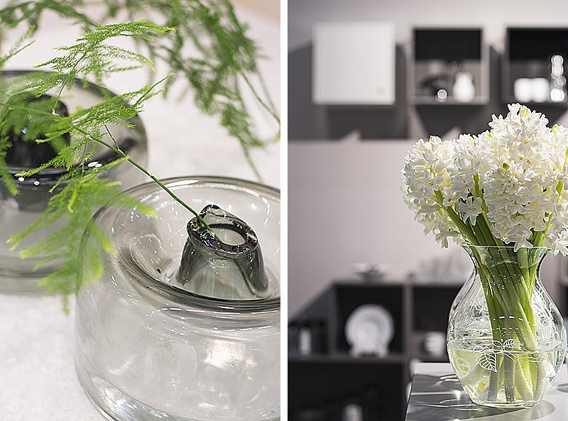 """""""Trasiga"""" vaser hos Housedoctor och vårvit bukett hos Holmegaard/Rosendahl."""