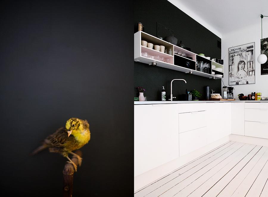 Ursnyggt kök (foto: Jenny Brandt/Dosfamily) där det svarta fältet inte blir så stort genom att golv, kök och tak behålls vita.