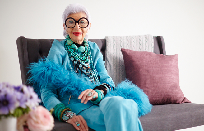 Iris Apfel, 92 år och stilikon. Foto: Ryan Dixon/Onekingslane.com