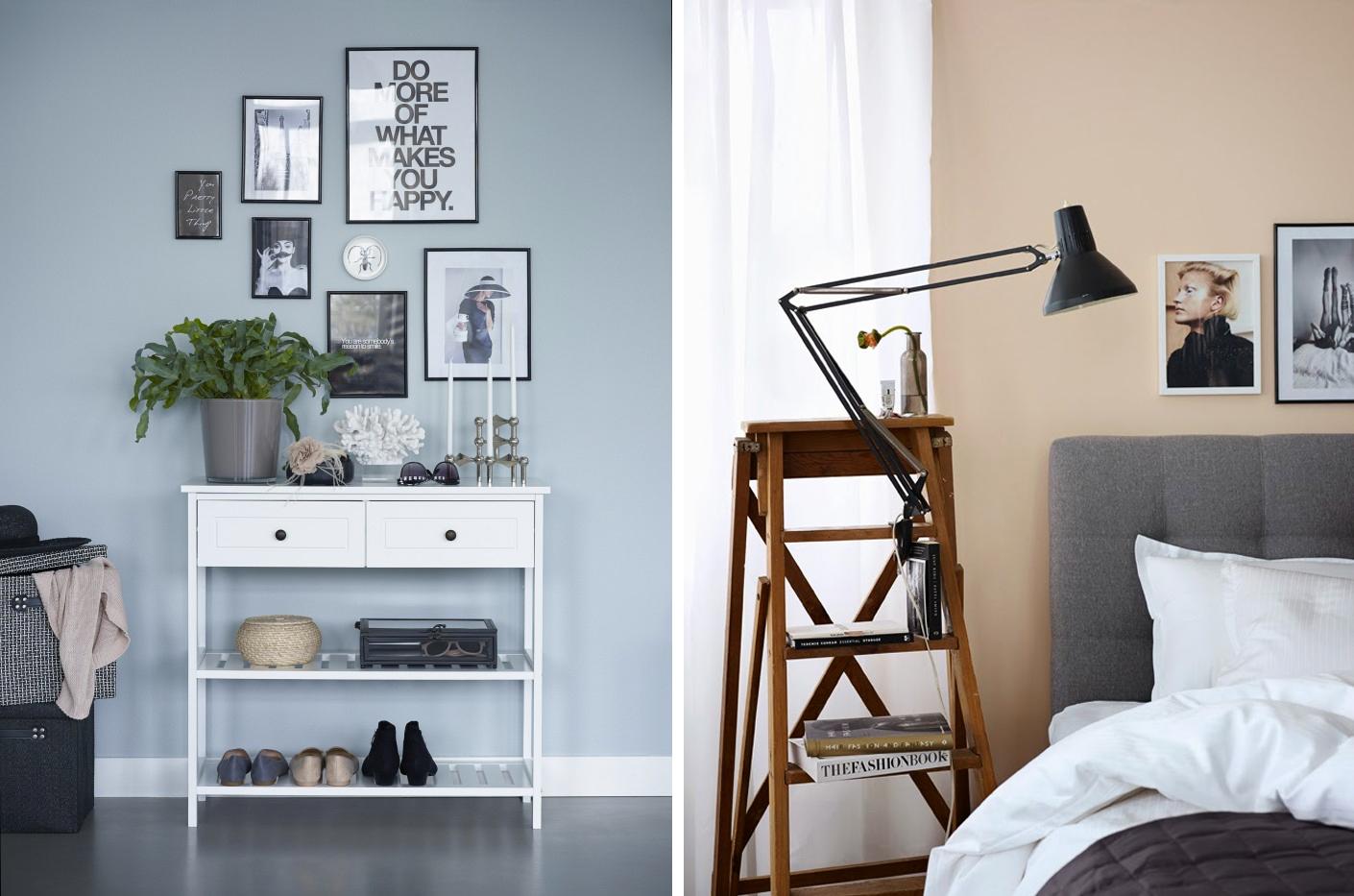 Jannice/Add simplicitys styling till vänster, Pella/STIl inspirations styling till höger.  Foto: Sara Danielsson för Jysk.