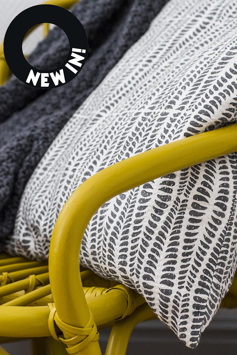 Afroart pillow, Habitat throw, IKEA chair. Photo: Maria Soxbo/Husligheter.se
