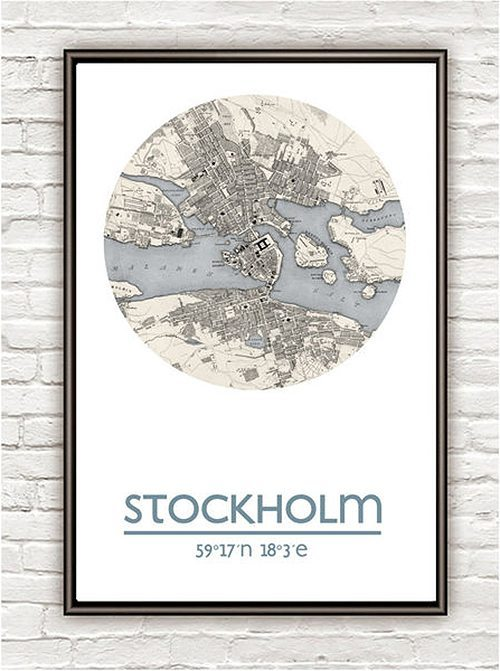 10 i topp city prints: Vintage maps and prints Stockholm (Husligheter.se)
