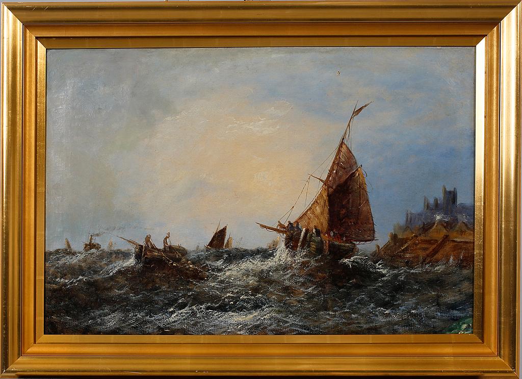Oljemålning Wilhelm Melbye Bukowskis – Husligheter
