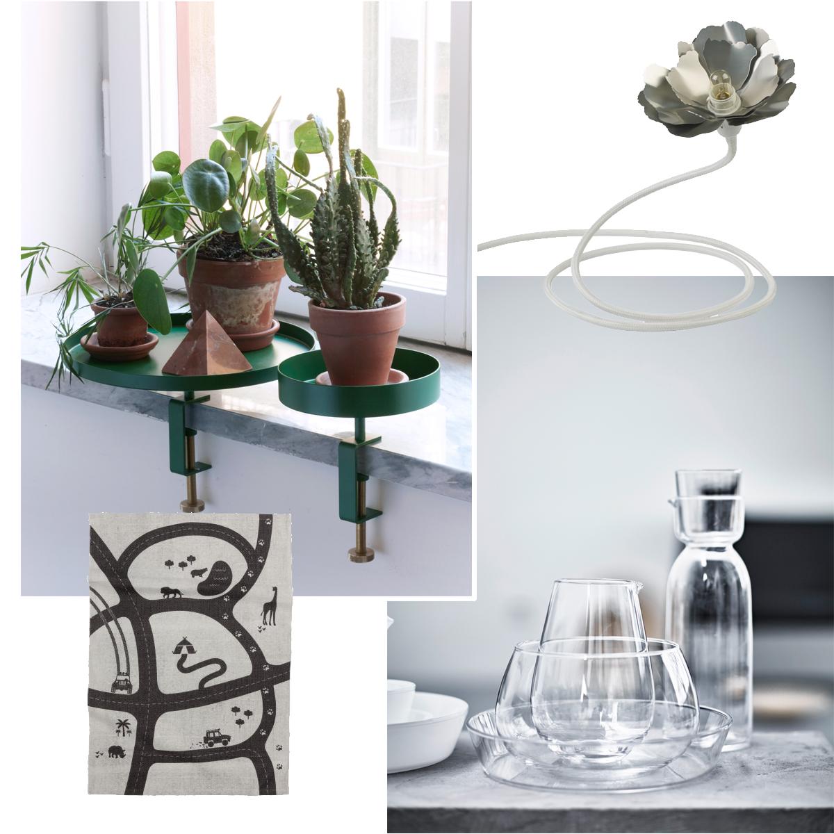 Önskelista – Bricka Navet/Betonggruvan, lampa Habitat, bilmatta/H&M Home, glas/Ingegerd Råman för IKEA – Husligheter