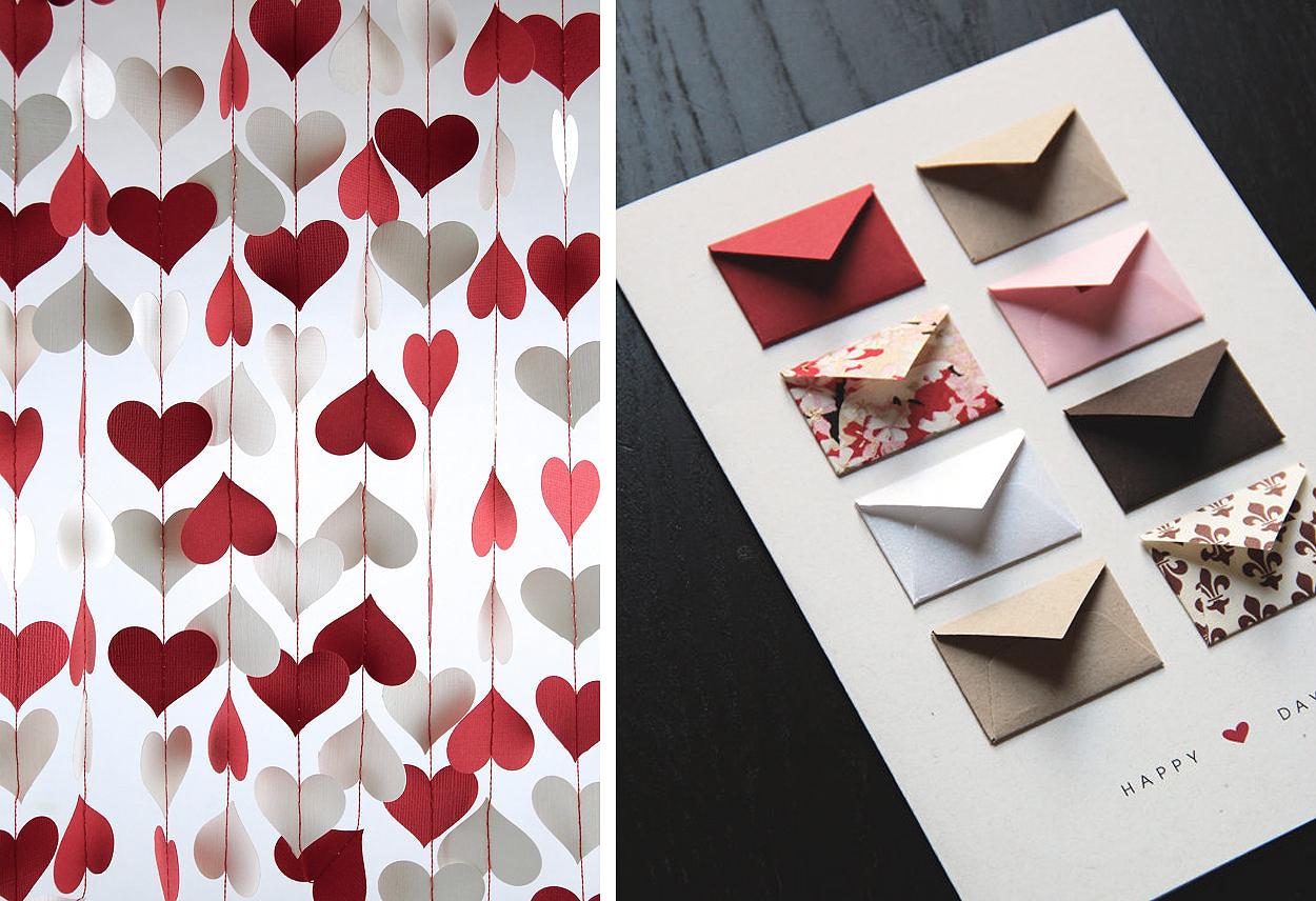 Alla hjärtans dag-kort och Alla hjärtans dag-girlang – papperspyssel – Husligheter