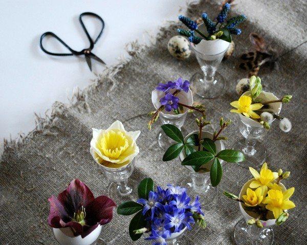 Påskdukning blommor i äggskal – Blomster och bakverk – Husligheter