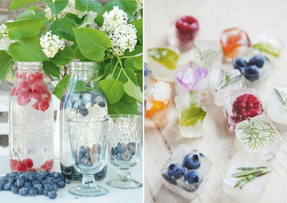 Frysta bär i drinken och iskuber med frukost och blommor till midsommar – Husligheter