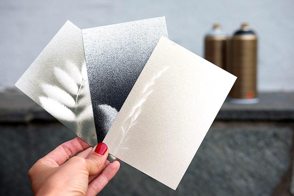 Gör egna vykort med sprayfärg och blad – Husligheter