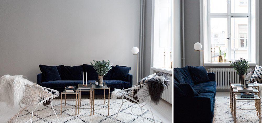 Julia soffa i blå sammet från Posh living – Husligheter
