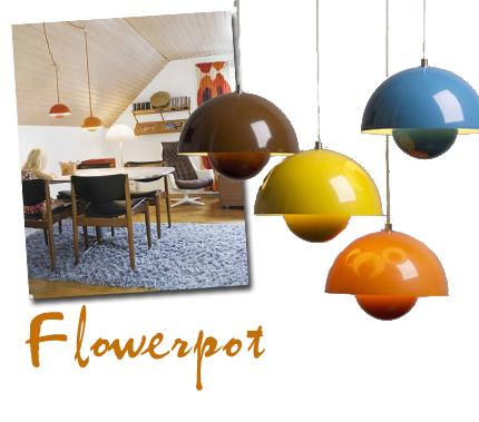 Verner Pantons Flowerpot-lampa är inte alls lika dyr, ca 1 500 kronor för den hängande varianten. Finast i grupp! Fotot är lånat från Sköna hem.