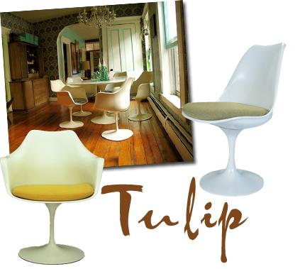 Saarinens Tulip-serie består av bord, stolar, fåtöljer och pallar. Jag skulle vilja ha en pall i min klädkammare, och eventuellt också ett litet bord. Stolarna är så klart också grymma, vanligast är det med röd sits men den finns i massor av varianter. Miljöbilden är från Wary Meyers.