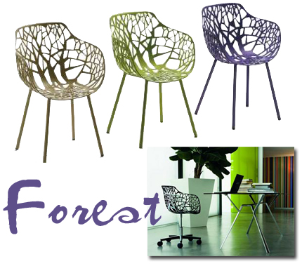 Robby och Francesca Cantarutti har designat stolen Forest, som finns med och utan armstöd och i en mängd färger. Det fiffigaste är att den passar både ute och inne – snacka om snygga trädgårdsstolar!