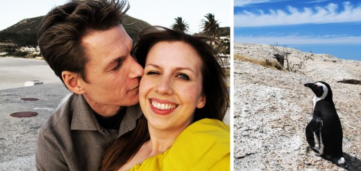 Nyårsafton på en strand i Camps bay (i Lanvin för H&M, solgult kändes lättare att ha på sig söder om ekvatorn ...) och min osymmetriska blick beror på att det blåste sandkorn i ögonen på mig hela tiden. Den lilla pingvinkillen (?) fanns förstås på Bounders beach, som är världsberömd för sin pingvinkoloni.