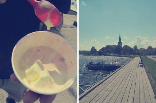 Vi köpte glass som försvann så snabbt att jag inte ens hann fota och strosade längs hamnpromenaden.