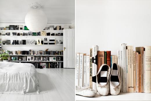 Sovrummet har en lång bokhyllevägg där Tenka samlar saker hon tycker om, som dotterns avlagda balettskor.
