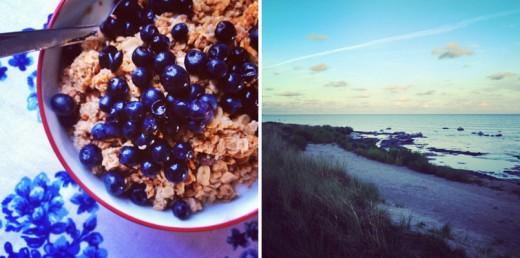 Har ätit färska bär i parti och minut, här blåbär från Leva kungslador på frukostmüslin. Och så hisnande vacker kvällspromenad längs Herta strand efter middag hos kompisar.