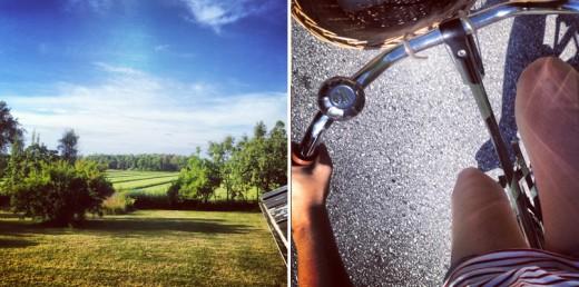 Få saker slår att kliva ut på altanen på landet och se ut över ängarna tidigt en sommarmorgon. Min fina Kronancykel rullade perfekt som vanligt.