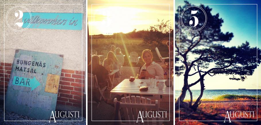 """Bungenäs matsal är ett hett tips om ni ska till Gotland nästa sommar, härligt ställe uppe i Fårösund. Och så en sällsynt bild på mig i bloggen, från en middag på Hotel Stelor med bästa Emma. Favoritträdet nere vid """"vår"""" stenstrand fastnar på bild varje år."""