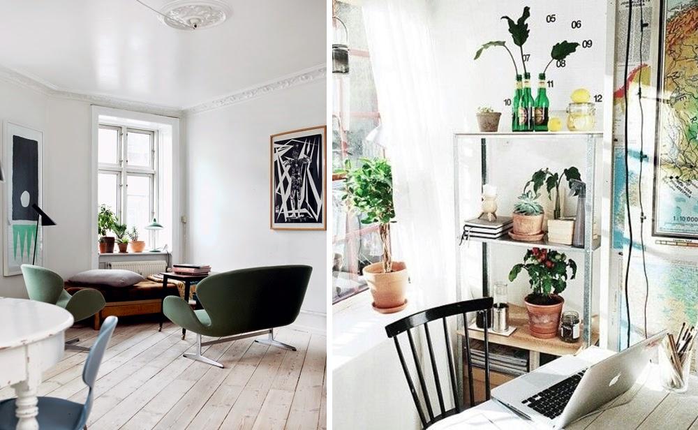 Swan sofa, modern retro, green plants – Husligheter