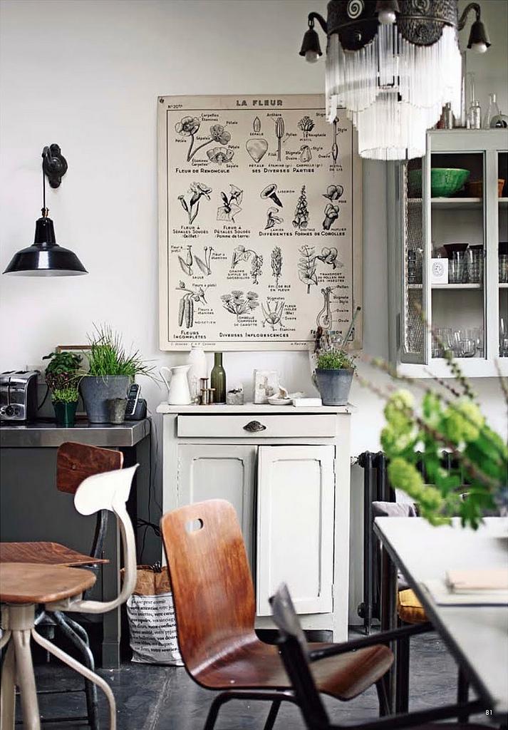 Industrial kitchen, educational poster, lamp, wooden chairs – Husligheter