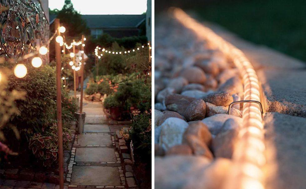 Visa vägen och kanta gången med ljusslinga utomhus – Husligheter