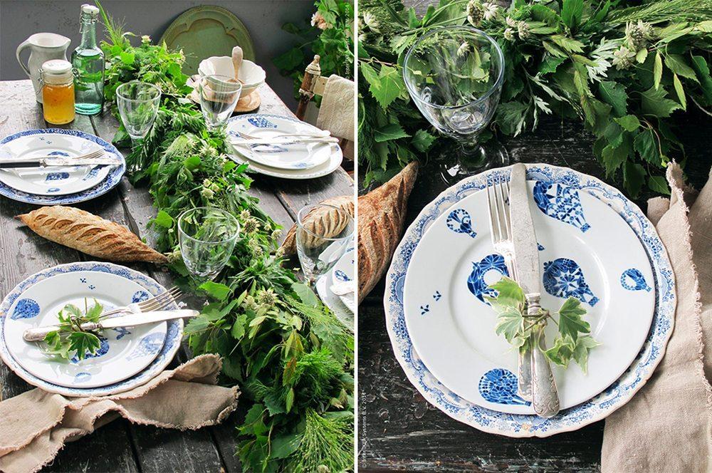 Grön löpare och blåvit porslin till midsommar – Husligheter