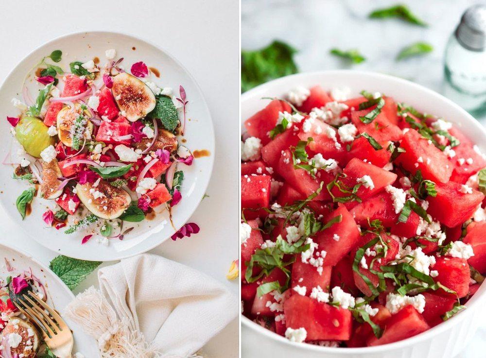 Vattenmelonsallad med basilika, fetaost, fikon – Husligheter