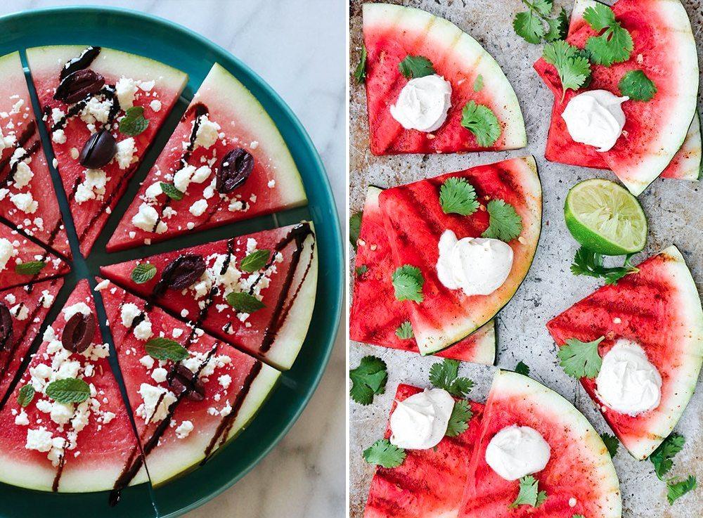 Recept på vattenmelonpizza med fetaost och grillad vattenmelon med creme fraiche – Husligheter
